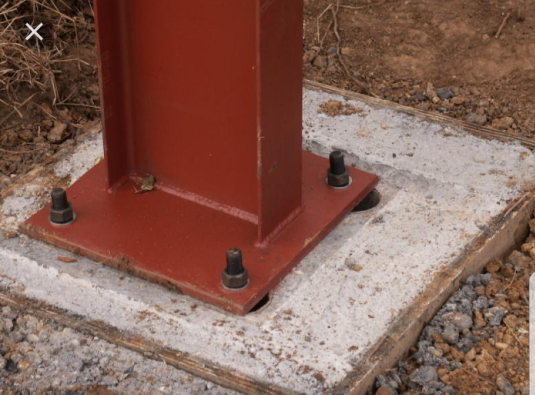 STEEL STANCHION FIXED IN PLACE TO OUR BOLTS