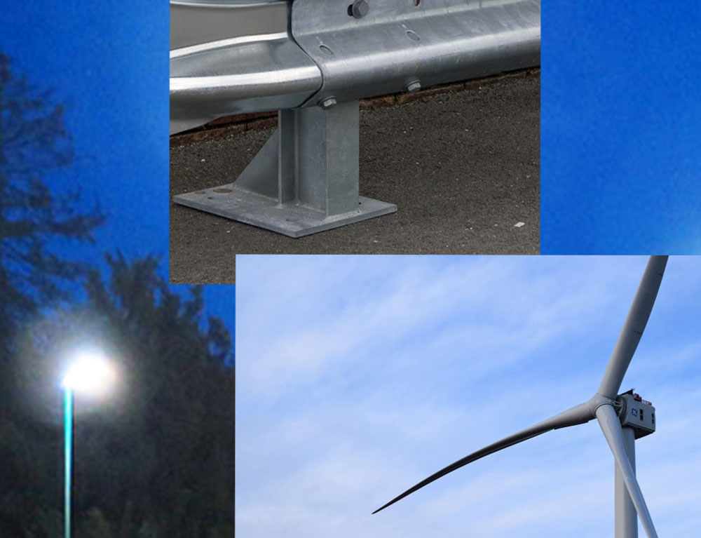 We also supply full steel stanchion bases for overhead signs/windmills/floodlights/ bridge crash barriers
